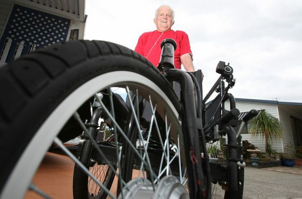 Jim Maynard with his super fast wheel chair Photo Blainey Woodham / Daily News