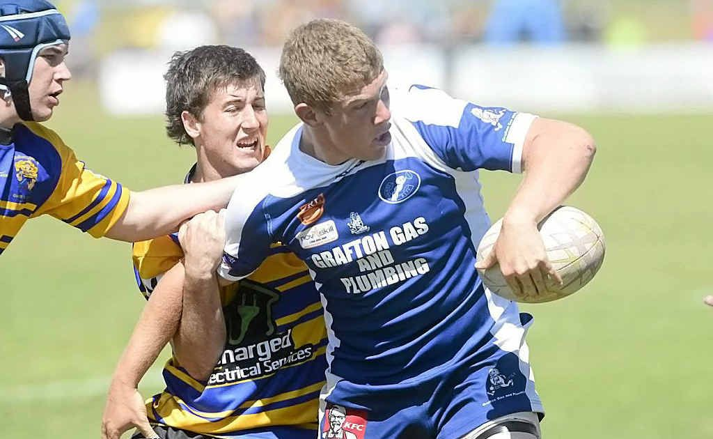 Austin Cooper pops a short ball in the NRRRL under-18 grand final between Grafton Ghosts and Mullumbimby.