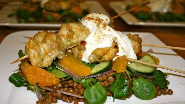 Miss Foodie's Cumin-spiced chicken skewers w orange and lentil salad.