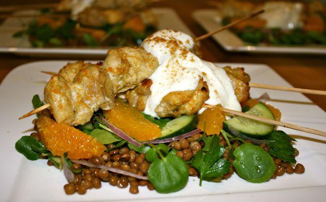 Miss Foodie's Cumin-spiced chicken skewers w orange and lentil salad.