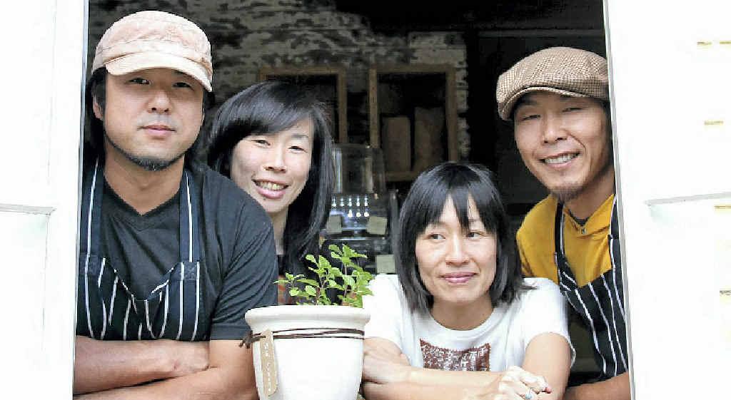 TEMPTING TASTINGS: Takayuki, Takashi, Aki and Shine at the new Federal Doma Cafe.