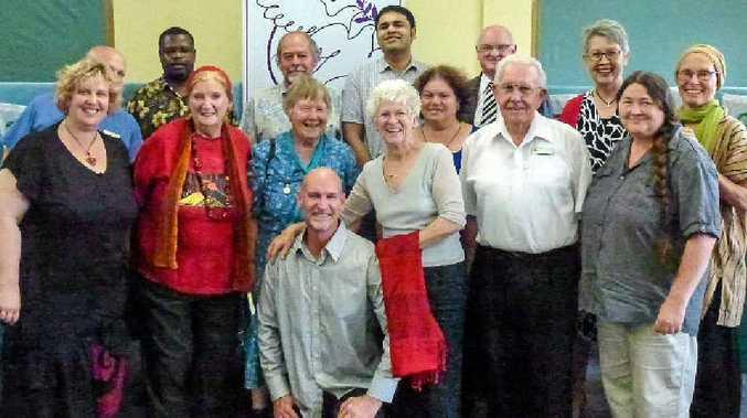 PEACE PRAYERS: Back row (from left): Rev Mark Harris (Anglicans), Sibomana Nzaramba (Baptists), John Allen (Buddhists), Rahul Thacker (Hindus), Rev John Thornton (Uniting Church), Lismore Mayor Jenny Dowell, Sabina Baltruweit (RaH). Front row (from left): Larisa Barnes (RaH), Judith Light (Baha'i), Ruth Haig (Quakers), R J Poole (RaH), Margaret Loong (RaH), Liora Claff (Jews), Fr Paul Pidcock (Catholics), Angela Pollard (Atheists).