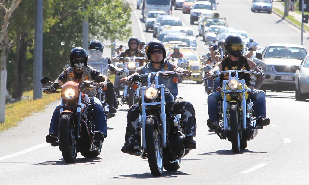 The Bandidos Motorcycle Gang arrive at Caloundra and are welcomed by a strong show of Police.