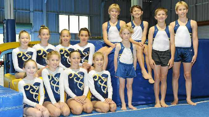 Wide Bay Gymnastics Club members who competed at Queensland and Australian club championships. Front, from left, Ella McConville, Mia McWilliam, Samantha Jankovic, Danielle Sankey, Felix McWilliam, Zoran Fitzek and Isaac Ryan. Bac, from left, Katelyn Riphagen, Danielle Penrose, Lauren Sankey, Maddye Beel, Joseph Ryan and Luke Taylor. (Absent Aylee Barker)