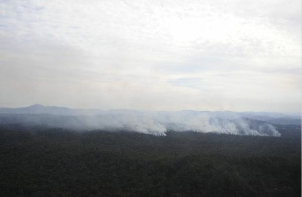 Hazard reduction burns around the region are casting a thick smoke haze over the coast today.