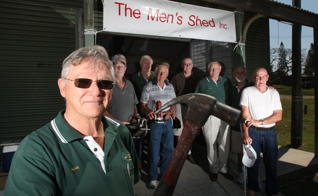 Men's Shed Tweed secretary Alan Jones and other members at the new shed in South Tweed.