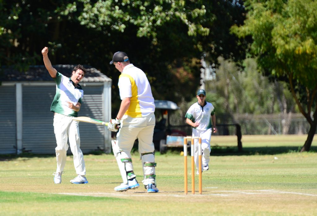 David Goltz celebrates getting David Taubman out. Capricornia Club Challenge Frenchville vs The Glen at Rockhampton Cricket Ground. Photo Sharyn O'Neill / The Morning Bulletin