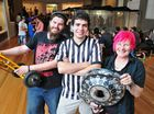 Queensland Robotics Sports Club treasurer Steve Martin with Booval duo Miles Blow and Jules Pitts at the Ipswich Art Gallery Robowars comp held on the weekend. Photo: Rob Williams / The Queensland Times