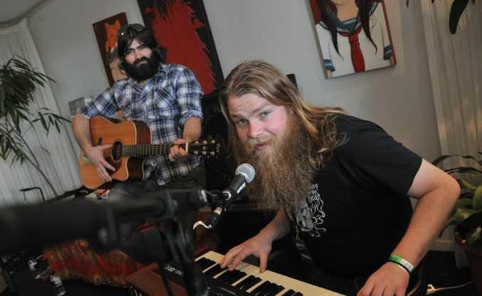 Day 3 of the Caloundra Music Festival: John Beardman Jr, front, and Johann Beardraven of Adelaide band, The Beards. Photo: Brett Wortman / Sunshine Coast Daily