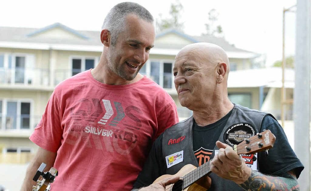Yamba's Robbie Imeson and Angry Anderson were at the Yamba Rotary Club barbecue for the bikers from the Project KidSafe Foundation ride at Flinders Park on Saturday in Yamba.