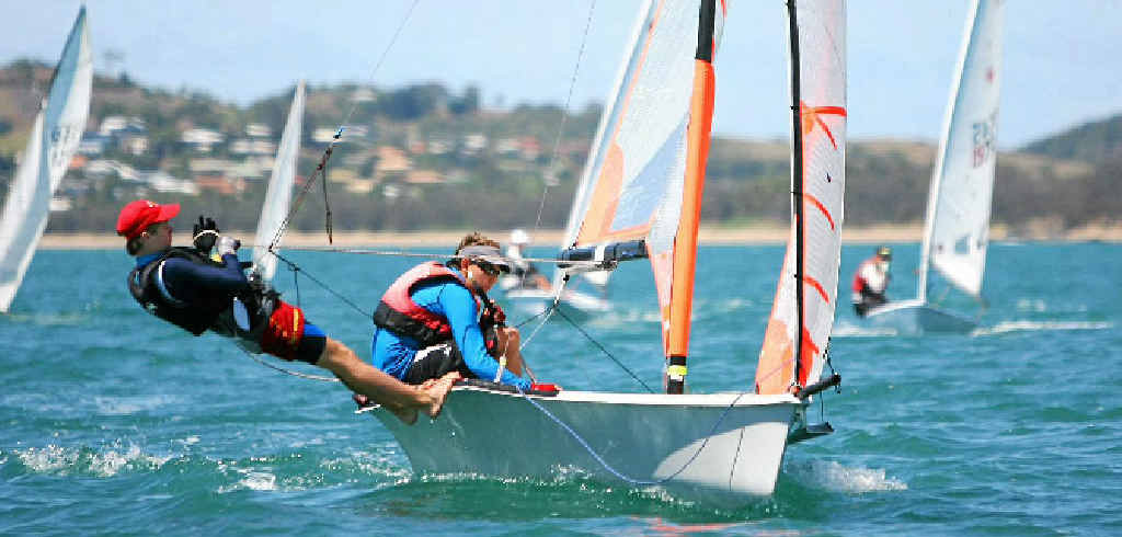 PERFECTLY BALANCED: Benjamin Osborne and his crewmate from the Mackay Yacht Club in the 29er class at the Keppel Bay Youth Sailing Development Camp and Queensland titles off Yeppoon.