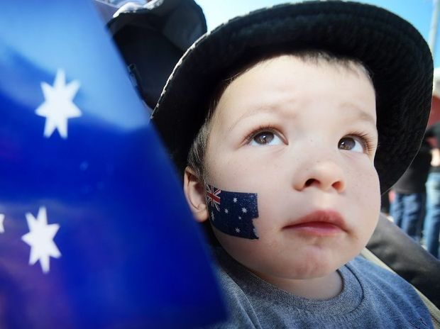 Harry Raynard, then 2, of Lennox Head, pictured during Paralympian Jacqueline Freney's welcome home parade after the 2012 Paralympics.