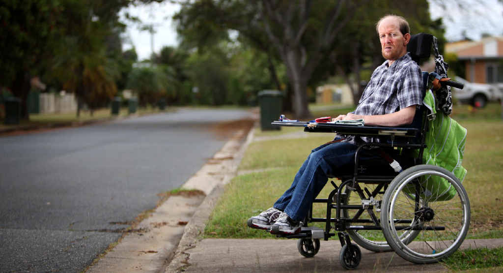 LEFT BEHIND: Cerebral palsy sufferer Tim Slater's quality of life could be affected when the taxi subsidy is cut.