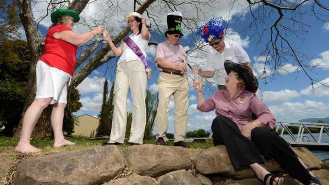 Garden Party. L to R Sharon Townsend, Cahterine Townsend, Peter Richards, Anita Gazzard, Margaret Organ. Photo: John Gass / Daily News
