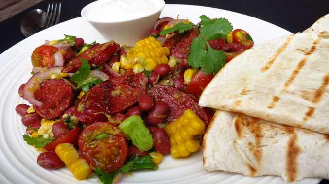 Miss Foodie's Mexican chorizo salad wraps