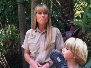 Robert Irwin feeds crocs