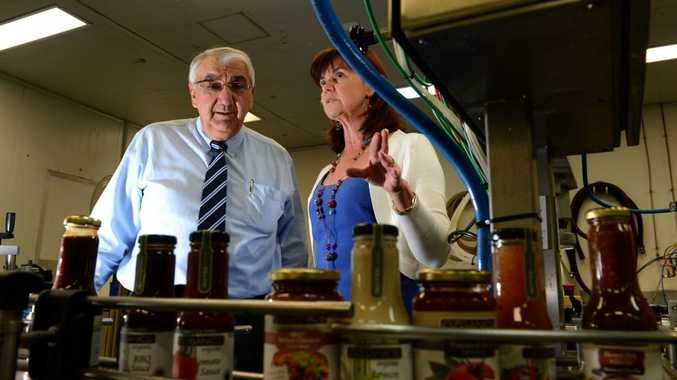 Thomas George visits Anni Brownjohn at the right food group. Photo: John Gass / Daily News