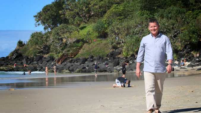 Tom Burlinson enjoying the beach at Greenmount.