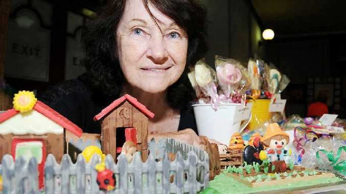 Shirley Sengstock spent more than three hours building her creation from chocolate.