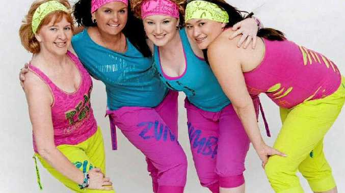 Maryborough's Jessi Thomsen, second from right, has benefited greatly from Zumba Fitness and now teaches it herself.