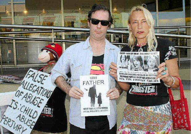ALIENATION: Andy Gough of Larnook and Debby Cook of Uki protest changes to Family Law Court laws.