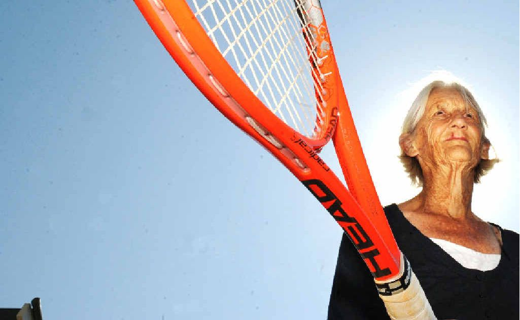 Margaret Fisher of Byron Bay, who won a silver medal in the Over-80s mixed doubles at the world seniors tennis championships in Croatia.