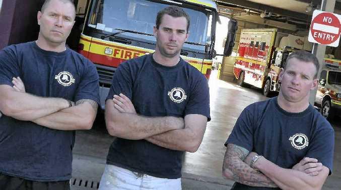 United Firefighters Union representative Brad Rosenblatt, branch president Clint Adrian and representative Tom Neville will go on strike today.