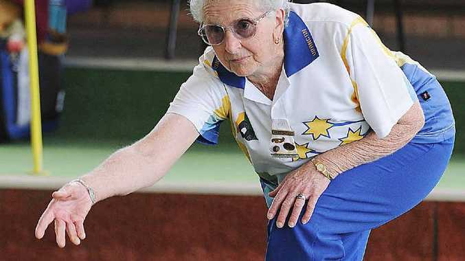 Dawn Rose launches a bowl during the Whale of a Carnival at Urangan Bowls Club.