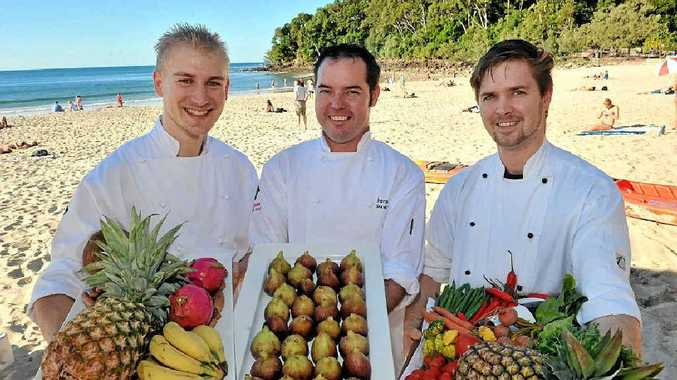 FOODIES' HEAVEN: Chefs Geoffroy Marcq, Shane Bailey and Gene Quinlan are ready for Noosa's Food and Wine Festival.