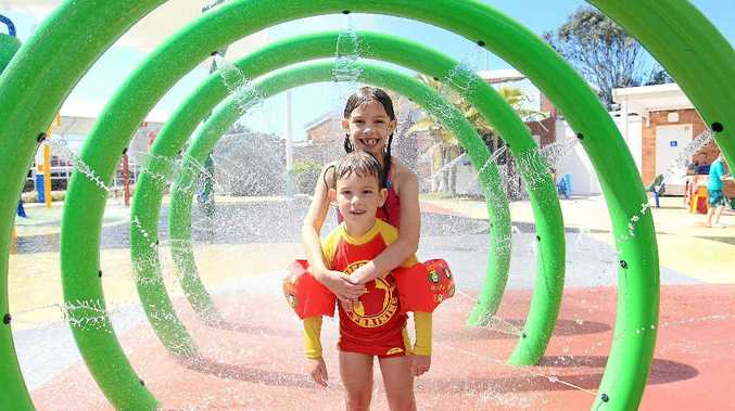 CIRCLES OF FUN: Enjoying the Cotton Tree pool are Savannah Betts, 7, and brother Kai, 4.