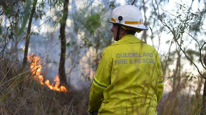 There was a small grass fire in South Gladstone on Saturday evening. Photo Christopher Chan / The Observer