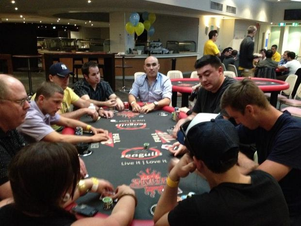 Poker players at the Seagulls tournament.