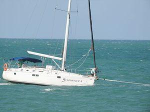 Yacht towed from sandbar