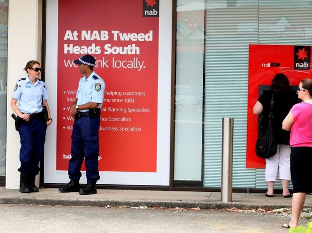 Police outside of the NAB branch in Tweed Heads.