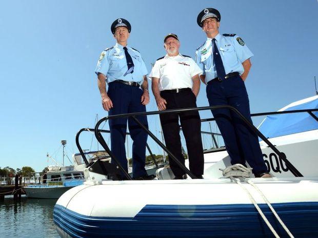 Alan Clarke, Bernie Gabriel and Stuart Wilkins at Marine Rescue Point Danger.