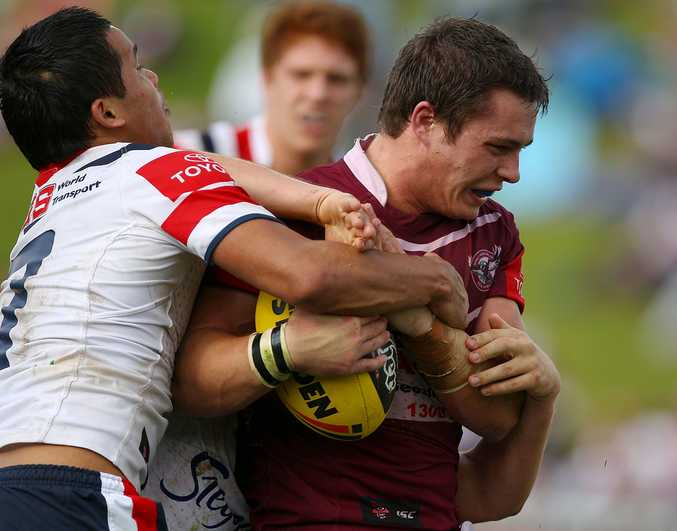 The late Jason Annear playing for the Sea Eagles against  the Sydney Roosters.