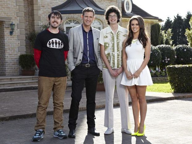 Beauty and the Geek Australia series 4 Queensland contestants Nathan, left, Jason and Kristy pictured with host Bernard Curry, second from left.