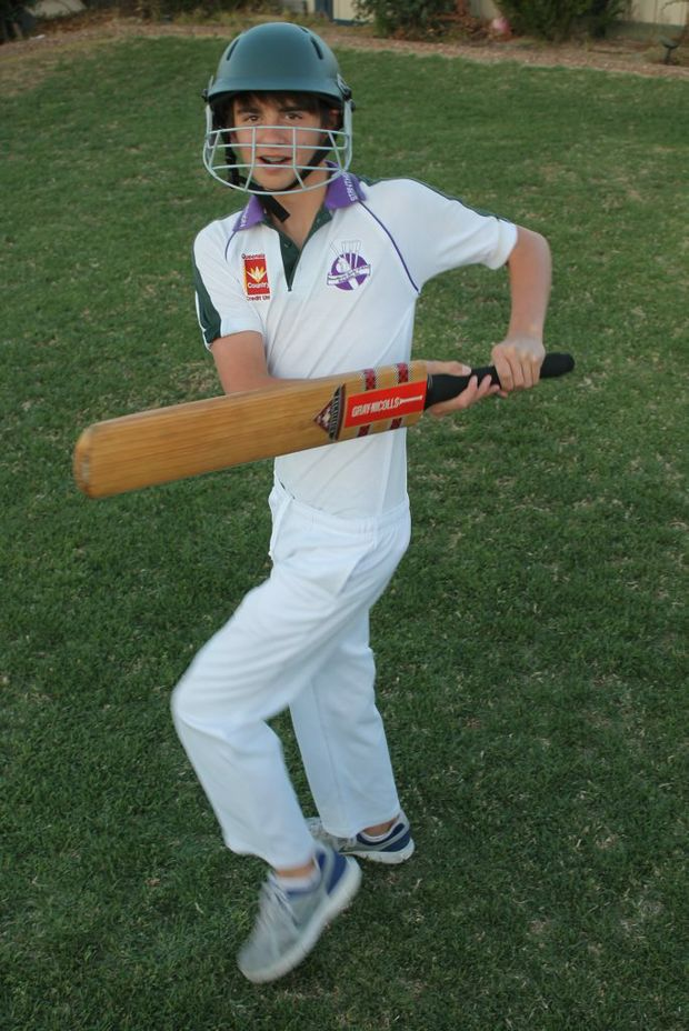 BACK FOOT: Stanthorpe junior cricket player Jacob Furness is ready to go for the start of the new cricket season. Photo Daniel Elliott / Stanthorpe Border Post