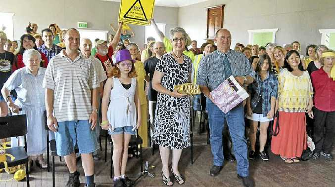 CSG-FREE DECLARATIONS: Residents of Tatham and Greenridge came together across the Lismore and Richmond Valley local government borders to deliver their declarations to Mayors Ernie Bennett and Jenny Dowell.