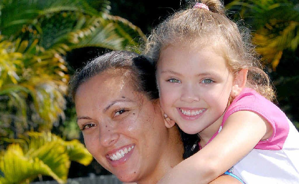 Australian netball player Nadine Ahwang and her five-year-old daughter Lincoln Hefferington share a love of the sport.