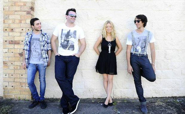 The band Auribus. From left: Antony Ratzer, Anthony McLeod, Shekinah Hope, and Robbie Kaé. Photo JoJo Newby / The Daily Examiner