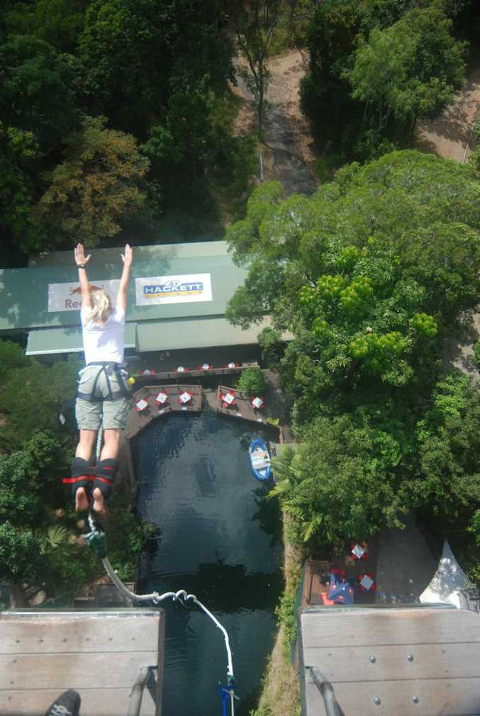 Kate Clifford takes the plunge at the AJ Hackett Cairns Bungee Jump.