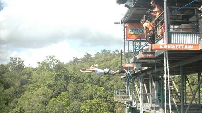 Kate Clifford takes the plunge at the AJ Hackett Cairns Bungy Jump.
