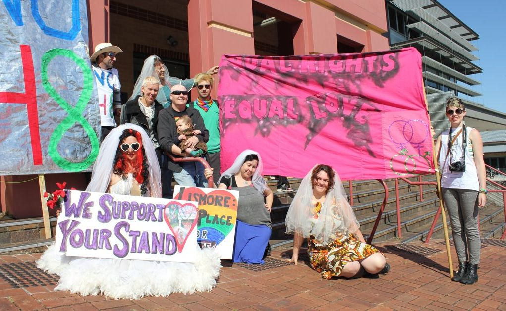 Supporters outside Lismore Court celebrated the dismissal of all charges against the demonstrators last Monday.