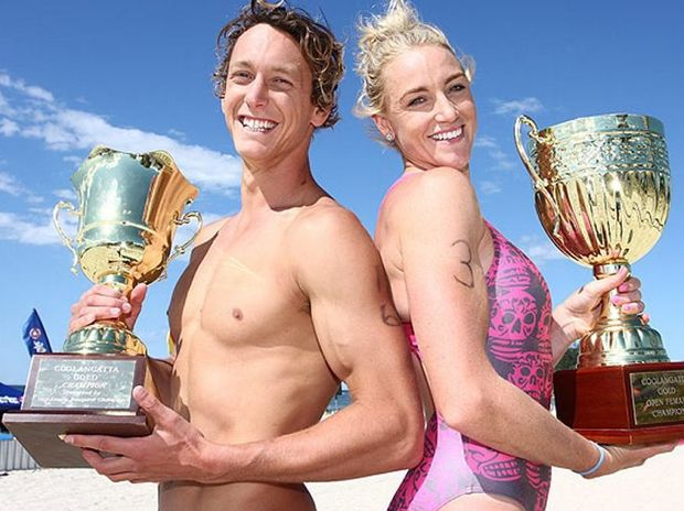 Ali Day was stoked to take out the 12th running of the men's Coolangatta Gold, North Burleigh local Brodie Moir claimed the woman's title.