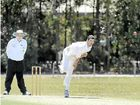 Gympie bowler Troy Ashton sends one down in the Hinterland versus Gympie cricket match.