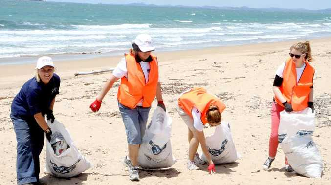 Co-ordinator Libby Edge joins volunteers Lorraine Speconga, Shai Eather and Imogen Lindenberg in the coastal cleanup at the weekend.