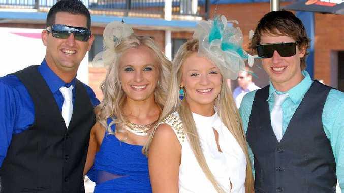 James May, Sara Meyers, Casey Dudeck and Justin Robertson enjoy the day at the Mackay races.