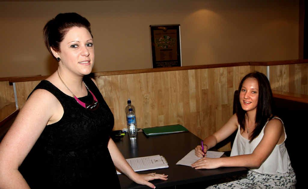 Mackay Grande Suites' Kim Cowley (left) interviews Bianca Ruzgys at the open day.