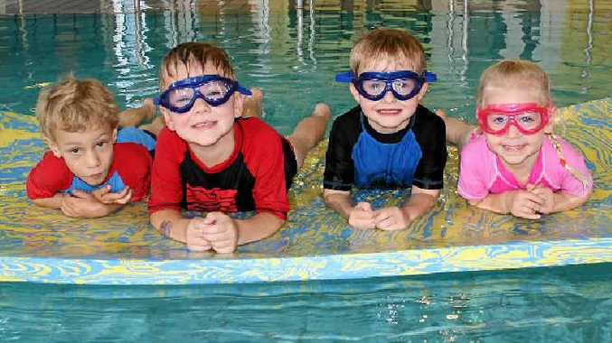 Dustin de Oliveira, Jak Kiepe, Nicholas Skeery and Mia Hurley working on their water skills at WIRAC on Monday.
